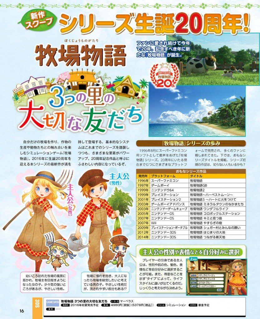 Story of Seasons: Good Friends of Three Villages (Farmitsu Magazine)
