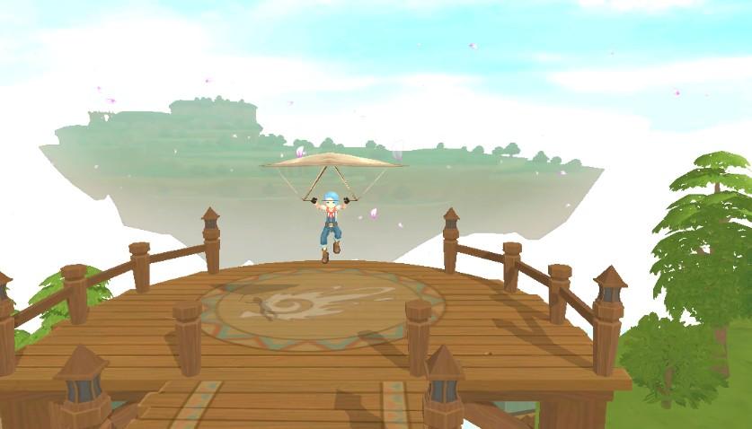 ตัวละครกำลังใช้เครื่องร่อนเดินทางข้ามเกาะลอยฟ้า